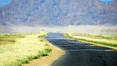 Road mirage hot reflection desert travel journey destination dry Africa
