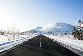 Road near Mount Io in Winter, Teshikaga Town, Hokkaido, Japan