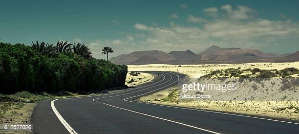 Road near of Corralejo, Fuerteventura, Canary islands, Spain.