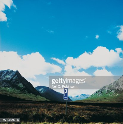 Road Parking Sign in a Remote Landscape, Scotland : Stock Photo