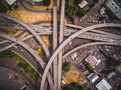 An aerial capture of I-405 interchange in Portland Oregon