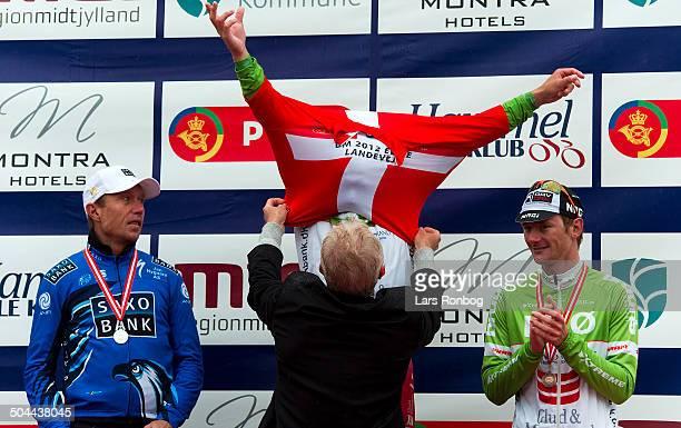 Road Race Elite Hammel Sebastian Lander Glud Marstrand LRØ Danish Champion in front of Nicki Sørensen team Saxo bank Right bronze for Andre Steensen...
