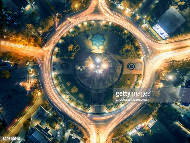 Road roundabout large The road has six lines beautiful at night , Bird Eye View .