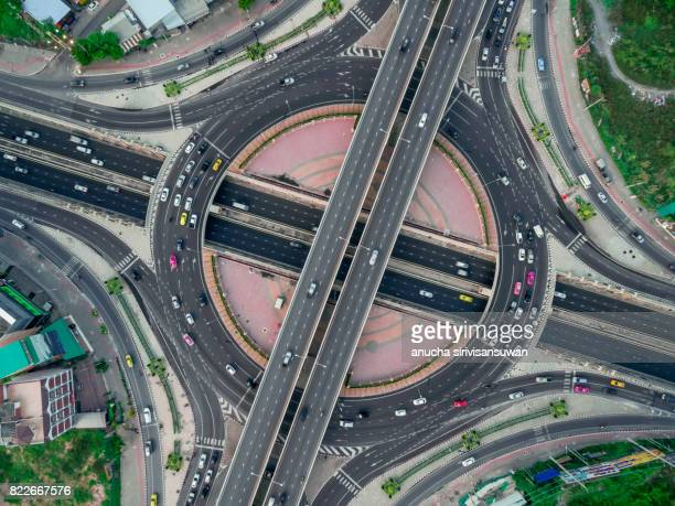 Road roundabout large The road has six lines beautiful  , Bird Eye View .
