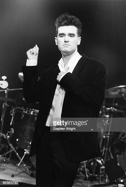 Photo of MORRISSEY and The Smiths Morrissey performing 'The Headmaster Ritual' on the Oxford Roadshow