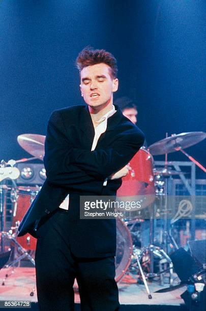 Photo of The Smiths and MORRISSEY Morrissey performing 'The Headmaster Ritual' on the Oxford Roadshow