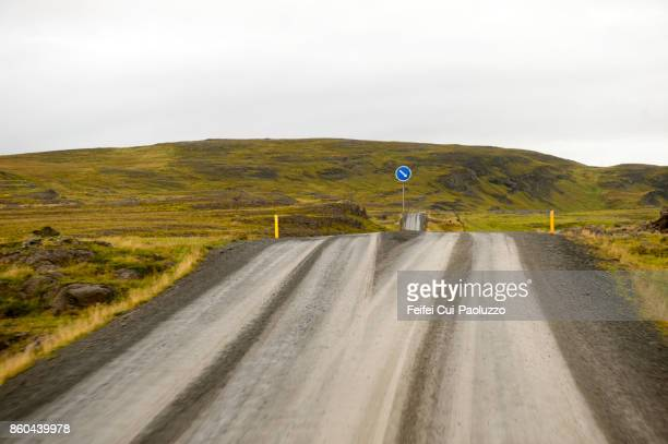 Road sign and Road near Bru, Northern Iceland