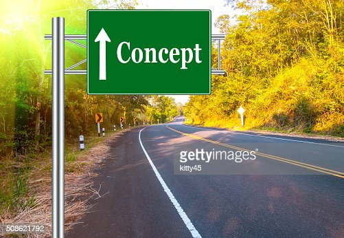Road Sign concept Country Road and landscape : Stock Photo