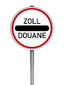 Road Sign (German layout) on white background with clipping path.