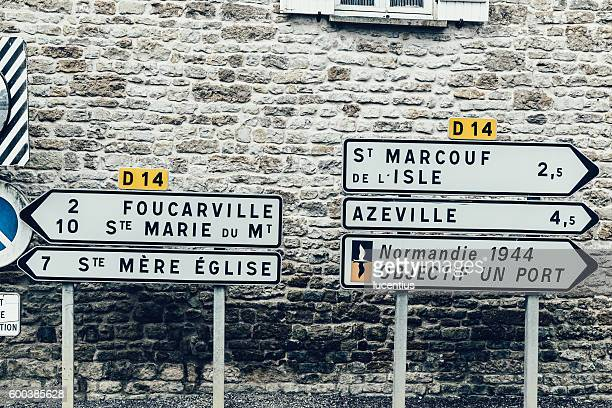 Road sign, D-Day landings, Normandy, France