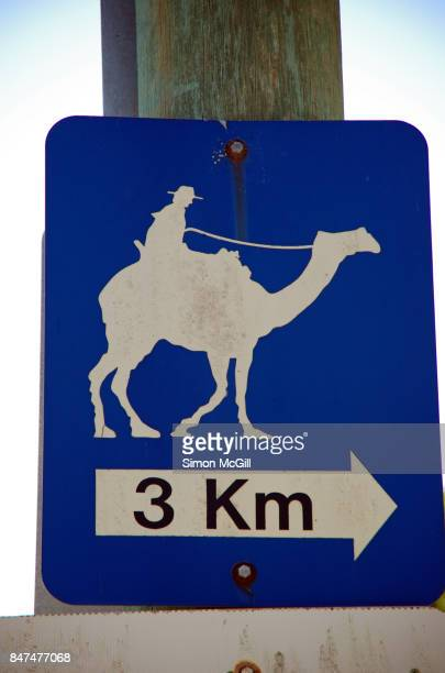 Road sign directing drivers to camel riding area in Port Macquarie, New South Wales, Australia