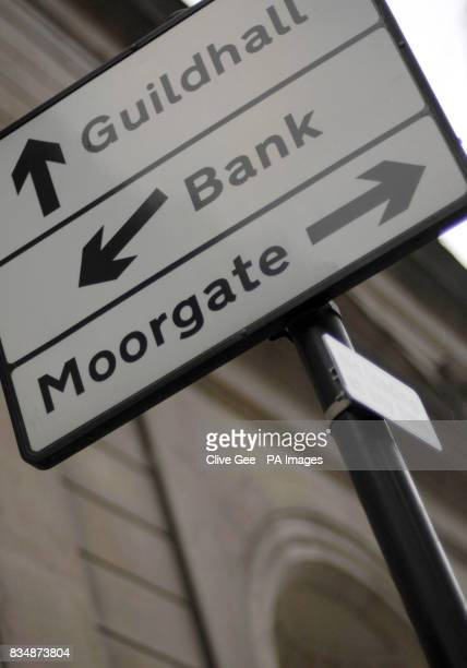 A road sign directs traffic to the Bank of England in London which today cut interest rates by 15% in its most dramatic attempt yet to rescue an...