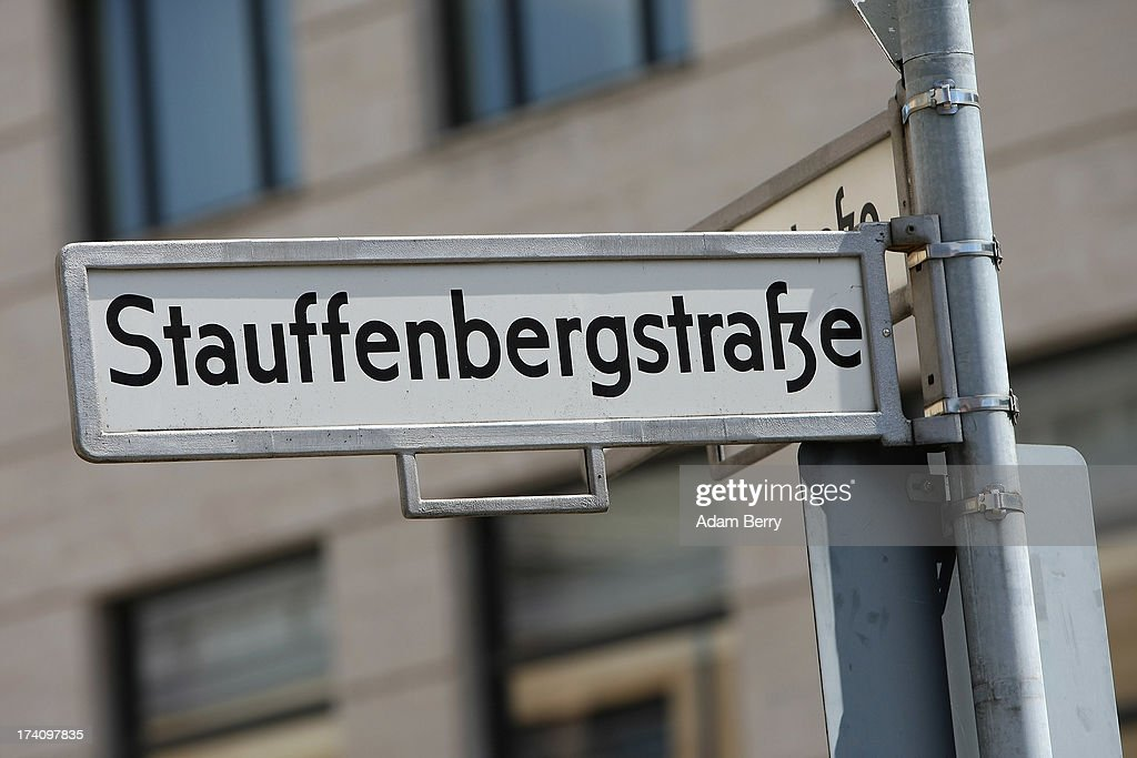 A road sign indicating a street named after Claus Schenk Graf von Stauffenberg, the primary planner of the 1944 assassination attempt on Adolf Hitler, hangs on the 69th anniversary of the failed mission on July 20, 2013 in Berlin, Germany. The leaders of the conspiracy, including von Stauffenberg, were shot in a courtyard nearby, a site which has been used as a memorial to German resistance during World War II.