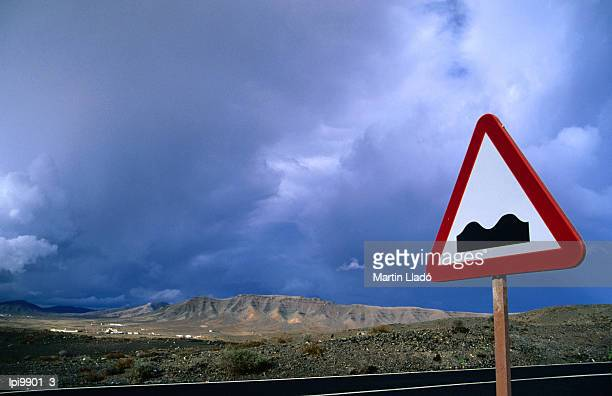 Road sign indicating hilly terrain, Isla de Fuerteventura, Canary Islands, Spain, Europe