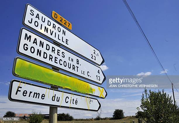 A road sign is painted masking the direction of the Underground Laboratory in Bure eastern France operated by the French National Radioactive Waste...