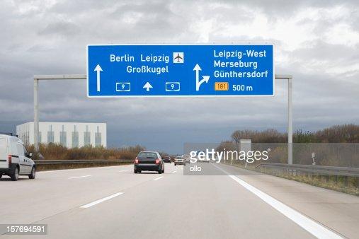 Road sign on german autobahn - next exit Leipzig-West