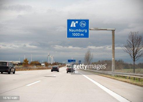 Road sign on german autobahn - next exit Naumburg