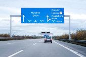 Road sign on german autobahn/motorway