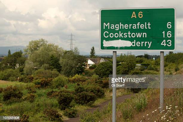 A road sign on the A6 has the 'London' of 'Londonderry' marked out on June 14 2010 in Londonderry Northern Ireland Tomorrow Lord Saville is due to...