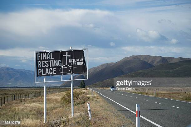 A road sign on the Mackenzie Plain, Mackenzie Country, South Island, New Zealand