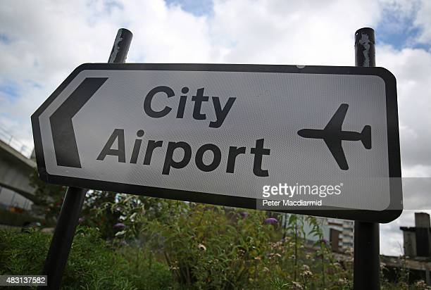 A road sign points the way to London City Airport on August 6 2015 in London England US company Global Infrastructure Partners has announced that it...