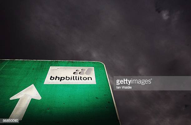 A road sign points the way to mining giant BHP Billiton's Mt Arthur coal mine February 15 2006 in Muswellbrook Australia BHP today posted the biggest...