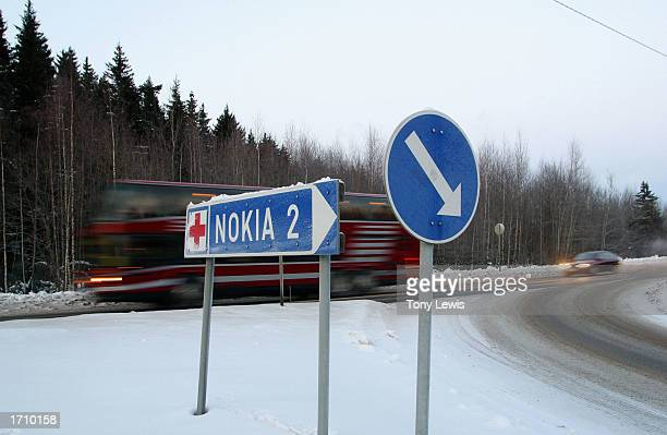 A road sign points towards the town the town of Nokia where Finland's most successful company Nokia began as a producer of rubber goods and shoes...