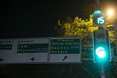 A road sign reading '15th of July Martyrs Bridge' in Turkish is seen in Istanbul Turkey on July 26 2016 Name of the Bosphorus Bridge one of the three...