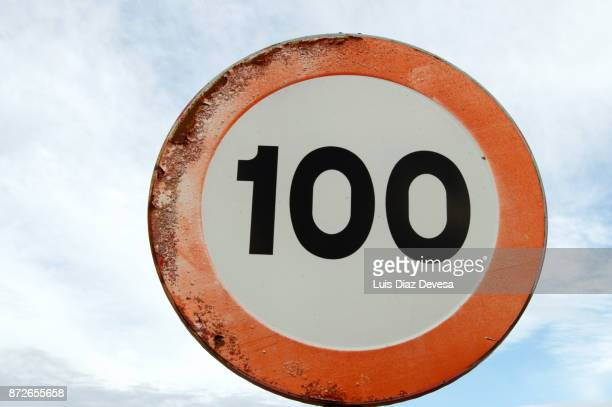 Road Sign Speed Limit 100 kmh
