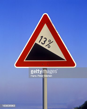road sign, steep hill downwards