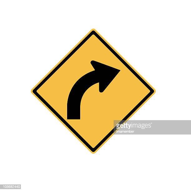 Verkehrsschild Biegen Sie rechts ab, isoliert auf weißem Hintergrund