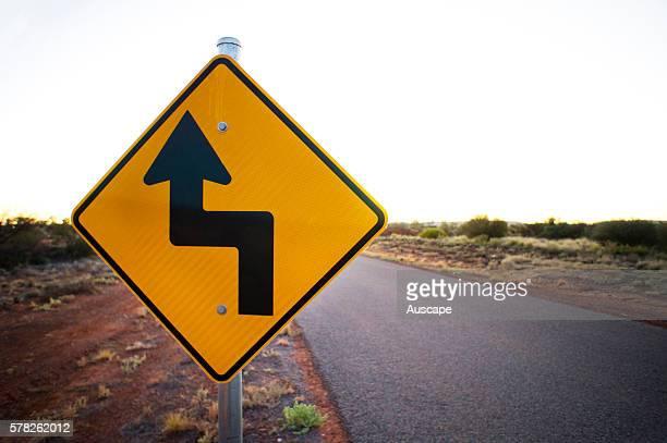 Road sign warning of two rightangle turns ahead Western Australia Australia