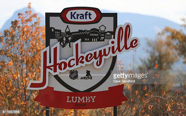A road sign welcomes visitors to Lumby during Day 1 of NHL Kraft Hockeyville Canada on September 30 2016 in Lumby British Columbia Canada