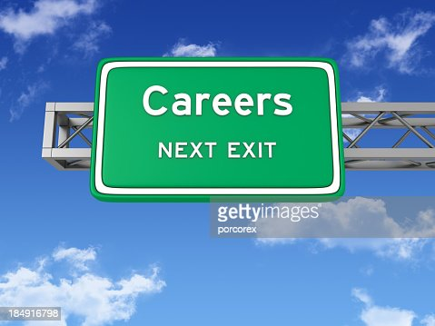Road Sign with CAREERS and Sky