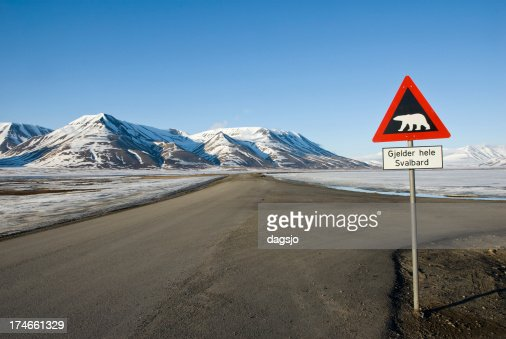 Road sign with polar bear
