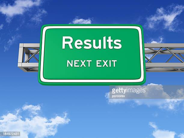 Road Sign with RESULTS and Sky