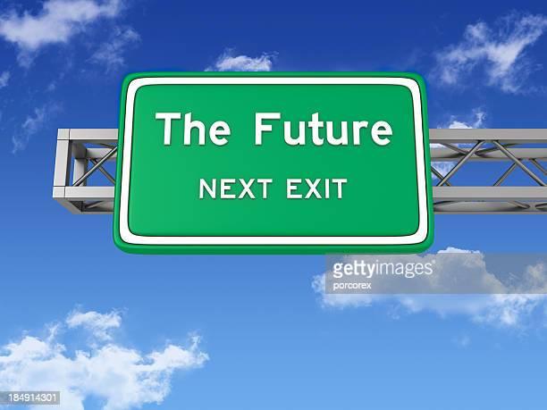道路交通標識と未来とスカイ