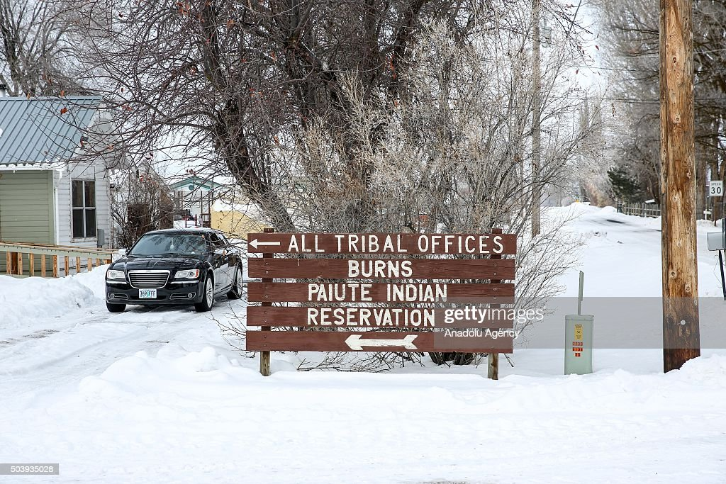Road signs are seen in Burns Oregon on January 7 2016