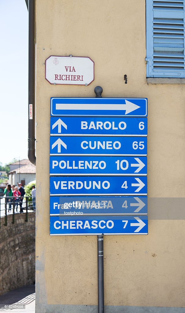 Road signs in Langhe Region, Italy : Stock Photo