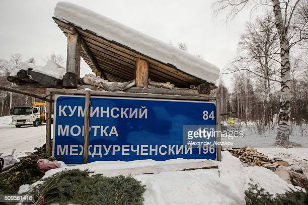 A road signs is seen on a shack near the Siberian village of Yangutum on February 2 2016 in Siberia Russia Local people live in this 'winter'...