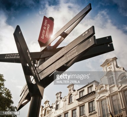 Road signs on village street : Stock Photo