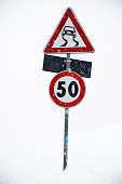 Road signs under the snow