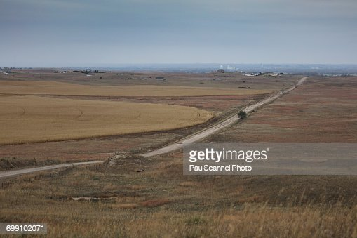 Road through Nebraska landscape, America, USA