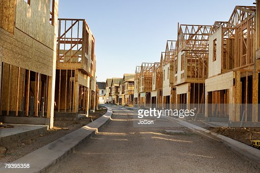 Road Through Residential Construction Site Stock Photo ...