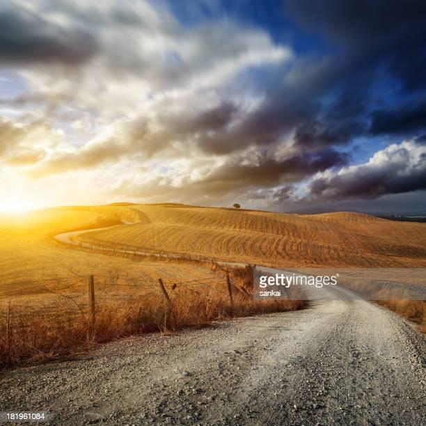 Strada attraverso i campi della Toscana