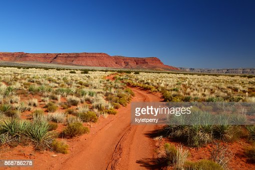 Road through the red dirt of outback : Stock Photo
