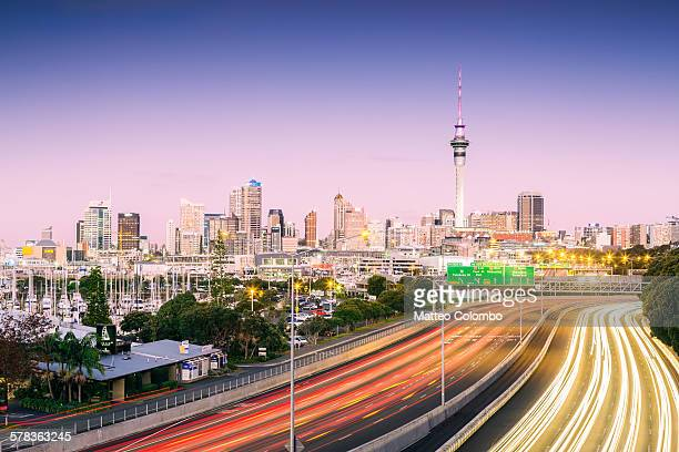 Road to Auckland city at dusk, New Zealand