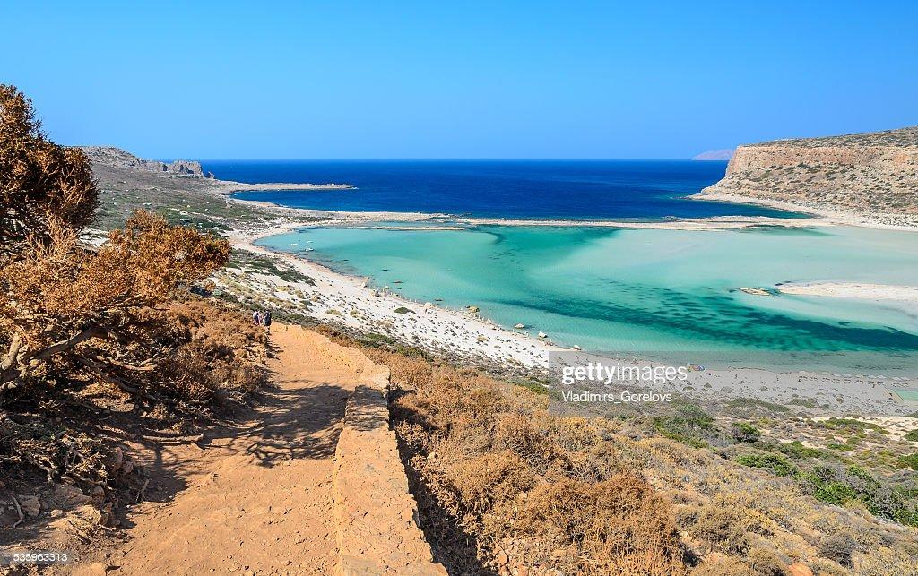 Road to beautiful Balos beach on Crete island, Greece : Stock Photo