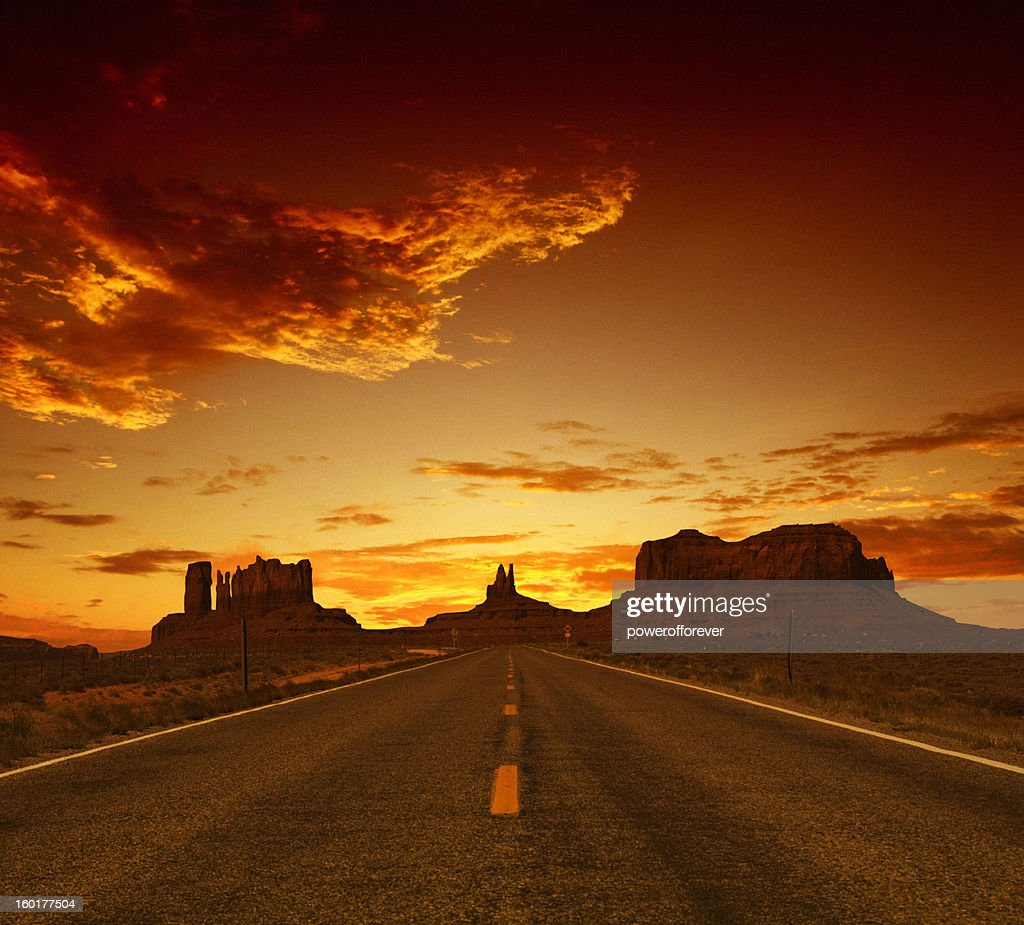Road to Monument Valley at Sunset : Stock Photo