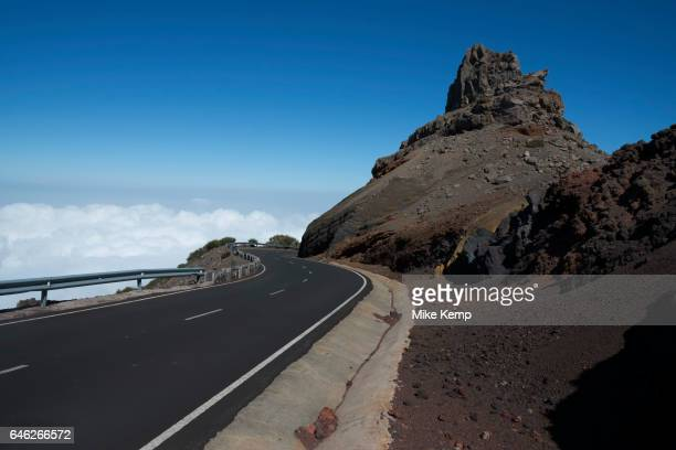 Road to nowhere passing through red volcanic rock formations in the Caldera de Taburiente National Park in La Palma Canary Islands Spain La Palma...
